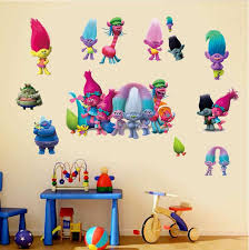 Free Shipping 2pcs Trolls Wall Sticker Children Kids Room Home Decals Decor Gift Diy Wall Stickers Bedroom Stickers Kid Room Decor