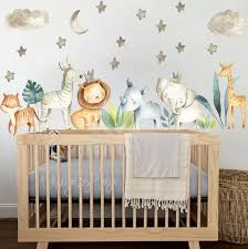 Baby Room Wall Decor Watercolor Safari Wall Stickers Baby Boy Etsy