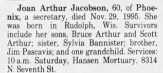 Obituary for Joan Arthur Jacobson (Aged 60) - Newspapers.com