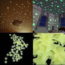 100 Piece Star Fluorescent Glow In The Dark Wall Stickers For Kids Room Living Room Decal In 2020 Wall Stickers Glow In The Dark Stars Wall Decor Kids Room Wall Decals