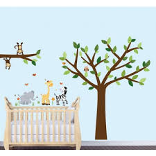 Safari Murals For Kids Rooms With Elephant Wall Clings For Baby Rooms