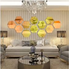 Qoo10 12pcs 3d Mirror Hexagon Vinyl Removable Wall Stickers Art Diy Decal Ho Household Bedd