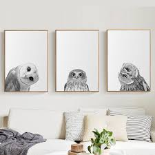 Best Price 51ee Crooked Owl Wall Art Poster Painting Black White Decorative Nordic Canvas Picture Modern Print Animal Bird For Living Room Decor Cicig Co