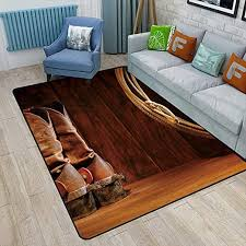 Amazon Com Western Decor Kids Area Rugs American Style Cowboy Wild West Culture Equestrian Sports Team Roping Barn Safe For Hardwood Floors And All Surfaces 6 X 9 Umber Brown Kitchen Dining