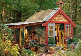 rustic little garden shed potting tool