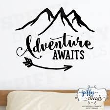 Adventure Awaits Wall Decal Vinyl Sticker Quote Travel With Etsy