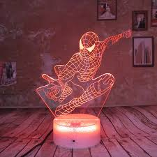 Night Light For Kids Birthday Gift Spider Man 3d Illusion Super Hero Lamp Led Desk Gifts Touch Remote Bedroom Light 7 Color Night Lights Aliexpress