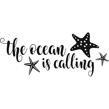 The Ocean Is Calling Quote Starfish Wall Art Decal 8 X 20 Diy Vinyl Adhesive