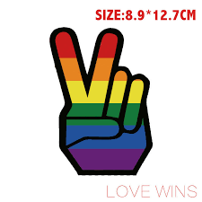 Rainbow Victory Hand Peace Sign Sticker Gay Pride Lgbt Decal Sticker Car Truck Lovewinshop