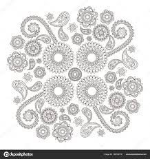 Flower Indian Pattern In The Style Of Mehndi Black And White