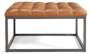 saddle brown leather tufted ottoman