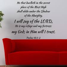 Psalms 91 1 2 Religious Wall Decor Divine Walls