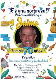 Tarjeta De Invitacion Para Celebrar 70 Anos Invitacion