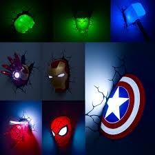 3d Wall Lamp Marvel Figure Iron Man Spiderman Hulk Captain America Thor Night Light Children Bedroom