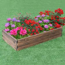 gymax wooden raised garden bed kit
