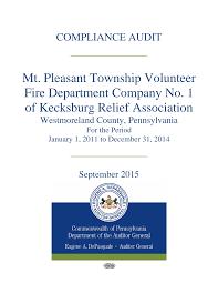 Mt. Pleasant Township Volunteer Fire Department Company No. 1 of Kecksburg  Relief Association - Westmoreland County, Pennsylvani
