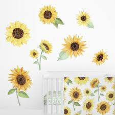 Shop Sweet Jojo Designs Yellow Boho Floral Sunflower Wall Mural Decal Stickers Nursery Decor Set Of 2 Farmhouse Watercolor Flower Overstock 30397479