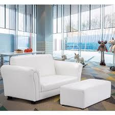 Costway White Kids Sofa Armrest Chair Couch Lounge Children Birthday Gift W Ottoman Walmart Com Walmart Com