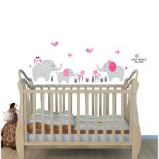 Pink Stickers Jungle With Elephant Wall Decal For Kids