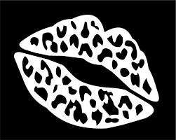 Amazon Com Dixies Decals Kiss Mark Lips Leopard 6 Car Decal Window Sticker White Automotive