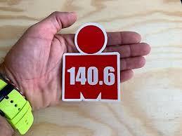 Ironman 140 6 Red M Dot Triathlon Sticker 4 Swim Bike Run Tri Car Decal 70 3 Ebay
