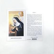 OFFERTA SPECIALE: 100 Santini con immagine Santa Rita e preghiera ...