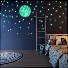 Amazon Com Glow In The Dark Stars And Full Moon Wall Stickers 220 Adhesive Glowing Star Beautiful Wall Decals For Any Room Light Your Ceiling Bonus Affirmation Card For Kids Toddlers Christmas Birthday Gift Arts
