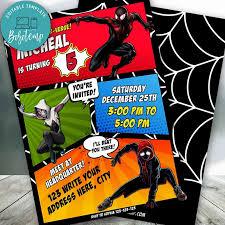 Editable Ingrese Al Verso Arana Invitacion De Spiderman Diy