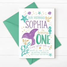 Mermaid Invitation Mermaid Birthday Invitation Teal Purple Gold
