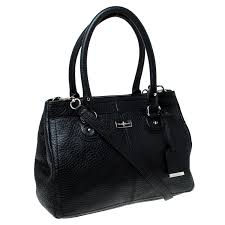 cole haan black pebbled leather tote
