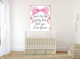 Boho She Is Fierce Wall Art Print Baby Girl Nursery Ribbons Don T Let Pink Forest Cafe