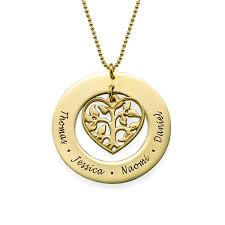 gold plated cut out heart family tree