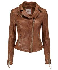 a fitted tan leather jacket made from