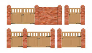 Free Vector Wooden Fence And Brick Poles