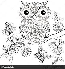 Decorative Owl On A Flowering Branch Coloring Book For Adults