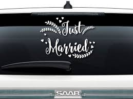 Just Married Vinyl Decal Sign Etsy