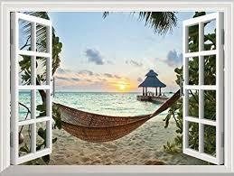 Amazon Com Flfk Sunset Relaxed Beach 3d Window View Decal Wall Sticker Home Decor Art Mural Home Kitchen