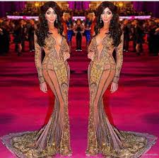Yasmine Petty Walk The Red Carpet Celebrity Dresses New Long Sleeve 2017 V  Neck Formal Evening Dresses Hollywood Dresses Sexy Gowns From  Elegantdresses, $166.43  DHgate.Com