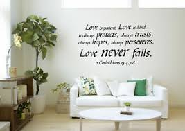Love Never Fails Bible Art Decals Quote Vinyl Wall Stickers Removable Decor 699938769082 Ebay