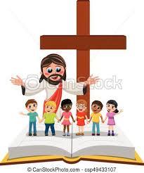 Karton, dzieciaki, odizolowany, jezus, biblia, herb, ewangelia ...
