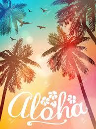 Ilustracion De Playa De Verano Aloha Tarjeta De La Inspiracion