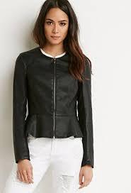 faux leather peplum jacket peplum
