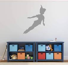 Amazon Com Peter Pan Wall Decal Vinyl Sticker Flying To Neverland Character Art Silhouette For Kids Playroom Bedroom Nursery Handmade
