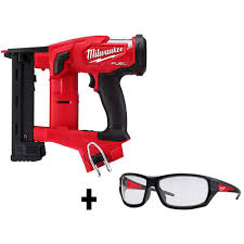 Milwaukee M18 Fuel 1 4 In 18 Volt 18 Gauge Lithium Ion Brushless Narrow Crown Stapler And Clear Performance Safety Glasses 2749 20 48 73 2020 The Home Depot