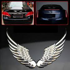 3d Silver Angel Wings Car Window Bumper Body Badge Sticker Decal Emblem Ebay