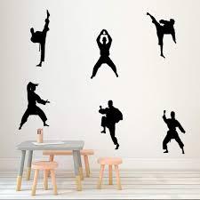 Amazon Com Martial Kung Fu Wall Sticker Creative Vinyl Sport Taekwondo Players Wall Decal Kids Bedroom Living Room Diy Mural Wall Art Decor Black Arts Crafts Sewing