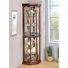 coaster 6 shelf corner curio cabinet in