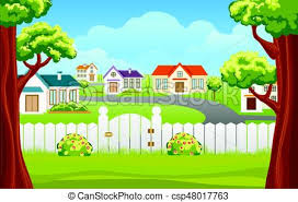 Outdoor Backyard Background Cartoon Illustration Outdoor Backyard Background Cartoon Vector Illustration Home Sunny Suburb