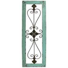 turquoise framed metal wall decor