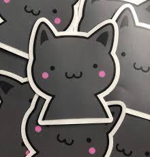 Kawaii Black Cat Vinyl Sticker Decal Etsy